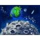 Cartoon Colorful Space Landscape Template