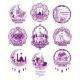 Set Vector Purple Illustrations, Sign for Ramadan