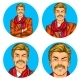 Set of Vector Illustration, Mens Pop Art Round