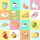 Colorful Traditional Breakfast Elements Collection