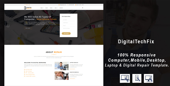 Digital Tech Repair –  Multipurpose Mobile, Personal computer, Electronic Servicing and Repairing HTML Template (Personal computer)