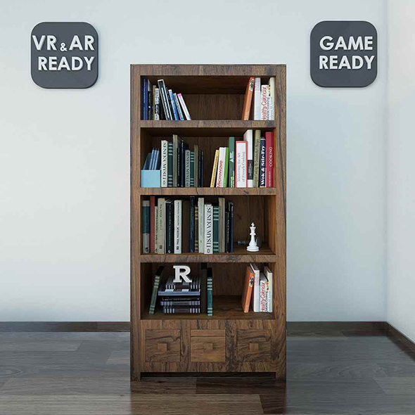 Bookshelf  VR_AR_Game Ready - 3DOcean Item for Sale
