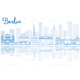 Outline Berlin Skyline with Blue Buildings and Reflections