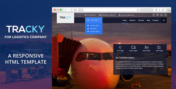 Tracky - Transport & Logistic Responsive HTML Template