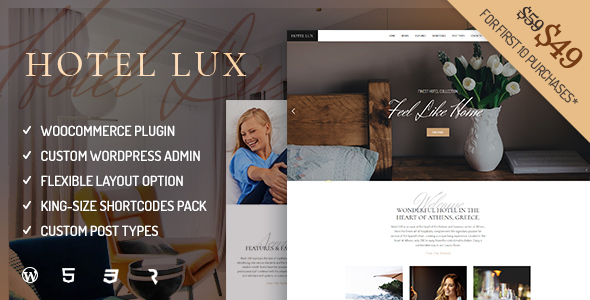 Hotel Lux – Resort &amp Hotel WordPress Theme (Travel)