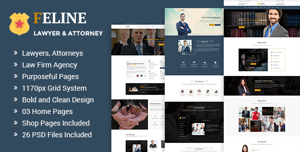Feline - Lawyers Attorneys & Law Firm PSD Template