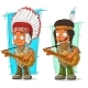 Cartoon Indian Chief and Boy Character Vector Set