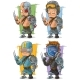 Cartoon Cyborg Soldier Character Vector Set