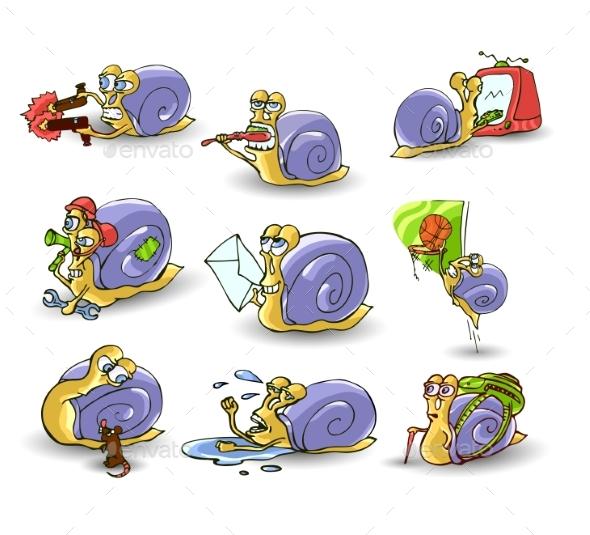 Mr. Snail on White Background