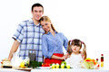 family with a daughter cooking together at home - PhotoDune Item for Sale