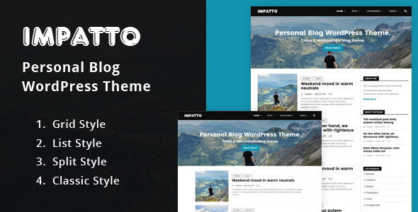 Impatto – Personal Blog WordPress Theme. (Personal) images