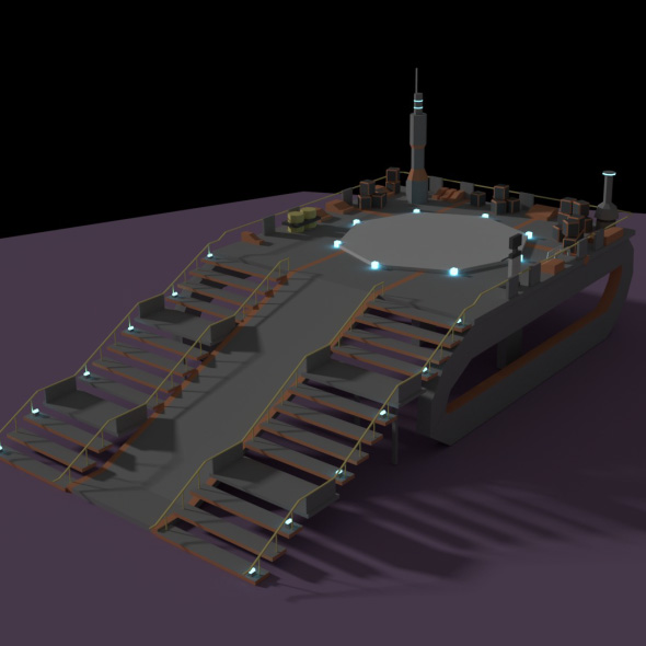 Low Poly Spaceship Platform - 3DOcean Item for Sale