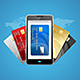 Concept of Phone Pay with Credit Plastic Card. Vector