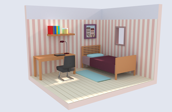Low Poly Bedroom - 3DOcean Item for Sale