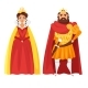 Cartoon Style Illustration of King and Queen