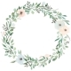 Flowers Set. Beautiful Wreath. Elegant Floral