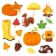 Cartoon Style Set of Autumn Symbols