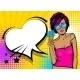 Cool Woman Pop Art Comic Text Speech Heart Box