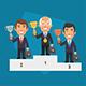 Winner Podium Businessman Hold Cup