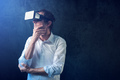 Businessman with VR goggles headset
