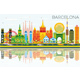 Barcelona Skyline with Color Buildings, Blue Sky and Reflections