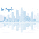 Outline Los Angeles Skyline with Blue Buildings and Reflections