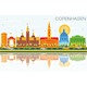 Copenhagen Skyline with Color Landmarks, Blue Sky and Reflections