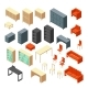 Isometric 3D Office Furniture Isolated