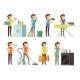Cartoon Housewife in Housework Activity Vector Set