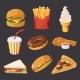 Fast Food Illustration in Cartoon Style