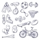 Vector Doodle Set of Sport Equipment