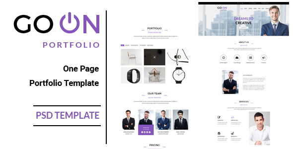 Go On : One Page Portfolio PSD Template