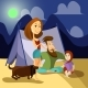 Family Camping Concept Poster. Vector Cartoon