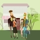 Hipster Couples Walking. Vector Cartoon People
