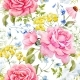 Watercolor Rose Seamless Pattern