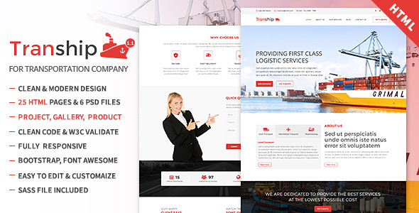 Tranship - Shipping / Logistics / Transportation / Responsive HTML Template