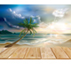 Wooden Boards on the Background of Tropical Beach