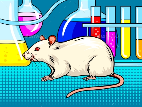 Laboratory Mouse Pop Art Style Vector