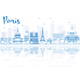 Outline Paris Skyline with Blue Buildings and Reflections