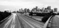 Road Seem to Converge Downtown City Skyline Houston Texas