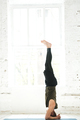 Yoga man doing yoga workout