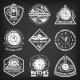 Vintage White Clocks Repair Service Emblems