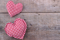 Handmade Hearts on wooden board, Valentines Day background