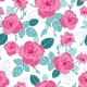 Vector Vintage Pink Roses and Blue Leaves on White