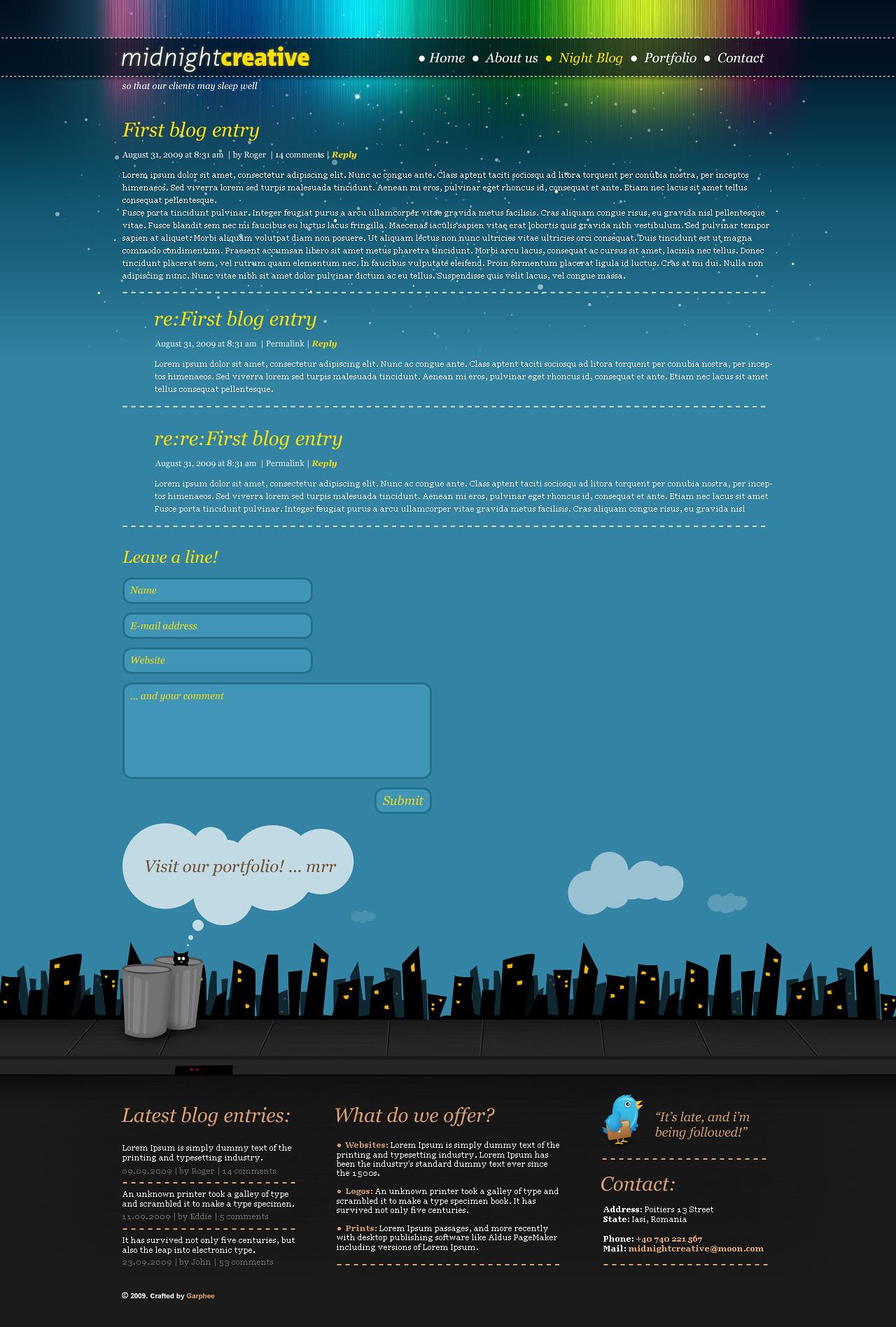 Midnight Creative - portfolio template.
