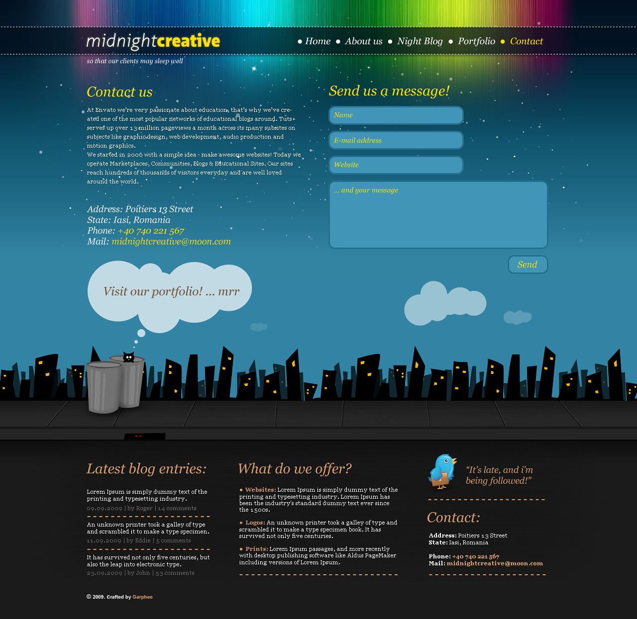 Midnight Creative - portfolio template.