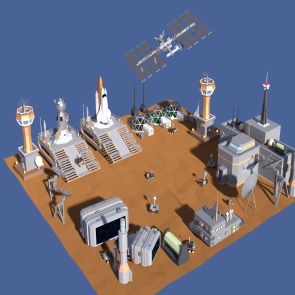 3DOcean Low Poly Cartoony Space Colony Pack 20200716