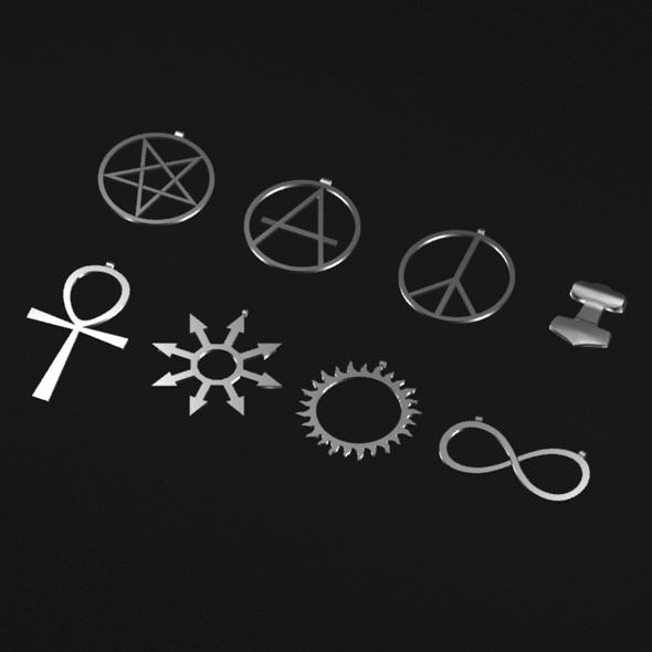 3DOcean Various symbols pendants 20201857