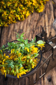 Hypericum flower.Herbal medicine.