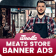 Meats Store, Fresh Food Banners Ad